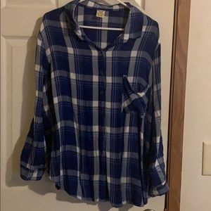 Blue plaid women's flannel
